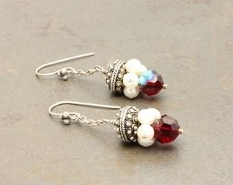 17 - Swarovski Crystals, Sterling Silver, Freshwater Pearls, Earrings, One of a Kind, OOAK