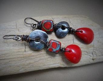 Revolution earrings - Dangle, Silver, Funky, Edgy, Red, Artisan,
