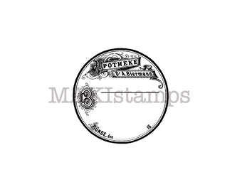 Small Apothecary label rubber stamp / German paper ephemera stamp / Unmounted rubber stamp (150403)