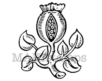 Pomegranate stamp / Medieval rubber stamp / Heraldry rubber stamp unmounted or cling stamp option (150709)