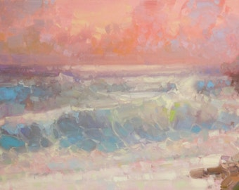 Sunset Ocean Side Original oil Painting on Canvas Handmade painting 20 x 45 in One of a kind Large Size