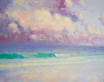 Ocean South West Highway Original oil Painting on Canvas Handmade painting 20 x 45 in One of a kind Large Size