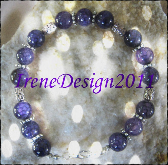 Handmade Silver Bracelet with Purple Dream Dragon Vein Agate by IreneDesign2011