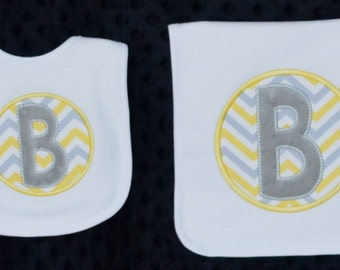 Personalized Monogram Initial Applique Gown Burp Cloth Bib Onesie for Baby Boy or Girl