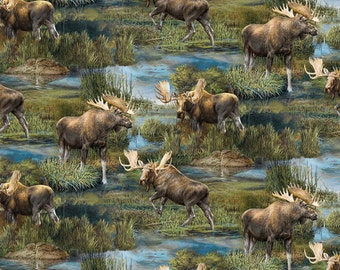 Wild Wings Helmsley Hill Moose Scenic Fabric