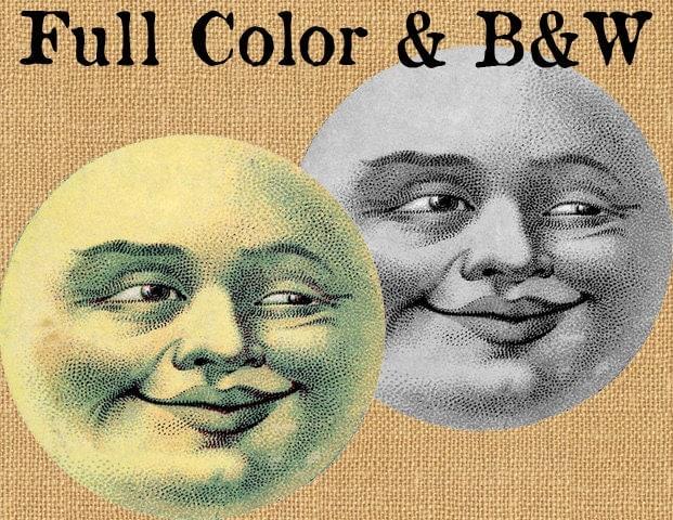Full Moon Face Lunar Luna Vintage Color Printable Image