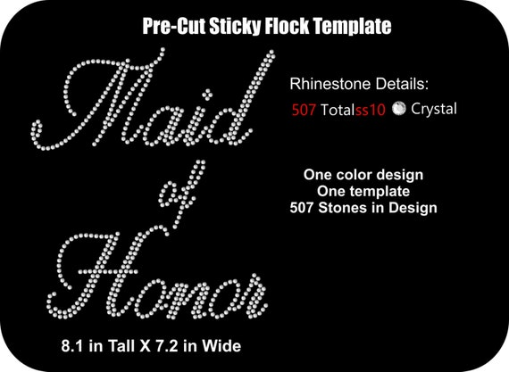 Pre cut rhinestone flock template wedding bridal maid of for Sticky flock pre cut templates