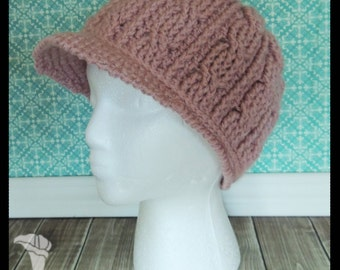 Cabled Winter Hat with Brim, Adult size