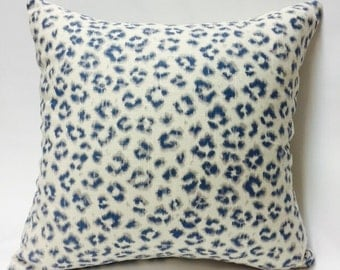Blue and White Leopard Spotted Pillow Cover!