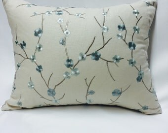 White and Blue Embroidered Flowers Pillow Cover