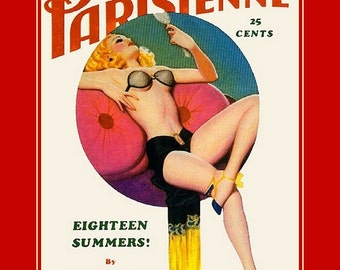 """Gay Parisienne Magazine cover of a  French pin up in Black lingerie. pin ups. 11x14"""" cotton canvas art print."""