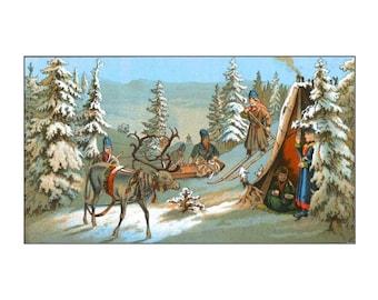 "Animal - Deer - Reindeer, Laplander illustration, Lappenlager, 1888 11 X 14""  canvas art print"