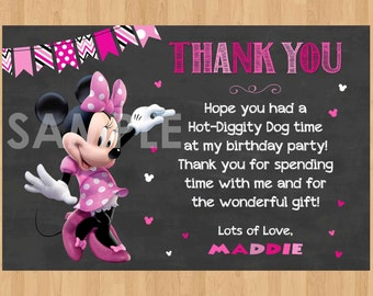 Minnie Mouse Thank You Card, Minnie Thank You Card Note, Minnie Mouse Printable Chalkboard Thank You matches Birthday Party Invitation