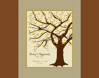 Gift for 50th Anniversary, Anniversary Gift, 50th Wedding Anniversary Decor, Golden Wedding Anniversary Tree, Golden Anniversary