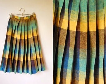 vintage 1970s pleated wool high-waisted midi skirt
