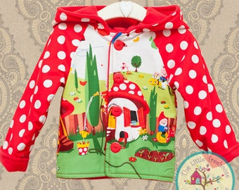 Girls - Girls Clothing - Fully lined Little Girls Coat - Kitsch Gnomes and Toadstool - Girls back to school coat, Baby Girls Coat