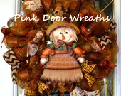 ONLY 1!! Fall wreath, SCARECROW THANKSGIVING wreath, welcome wreath, green cream brown chevron mesh ribbons Made to Order