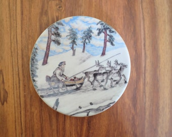 Vintage Arabia Finland Small Decorative Plate No 26 designed by A. Alariesto Reindeer Team Sled Winter Scandinavia Midcentury Collectible