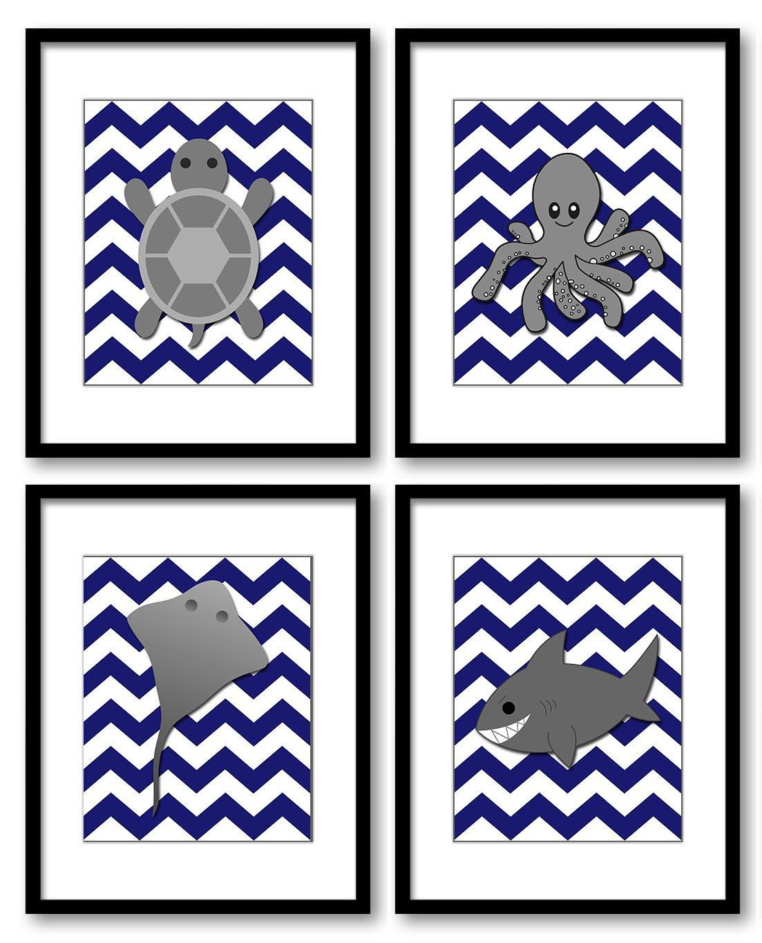 Navy Blue Grey Sea Animals Boys Art Nursery Print Turtle Octopus Sting Ray Shark Set of 4 Prints Chi