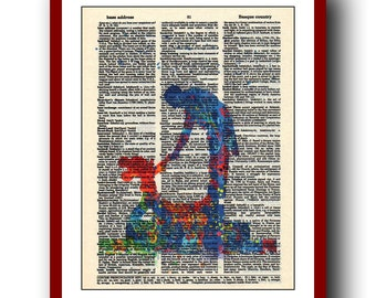 Mickey Mouse Poster 3 Sorcerer Mickey Print Disney Print  Mickey and Leopold Stokowski Print  Wall Print 8x10 Book Page  Upcycled Dictionary
