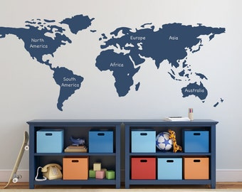 World map wall decal vinyl wall sticker decals home decor art world map wall decal with continents vinyl wall sticker decals art boys room decor wall stick sciox Choice Image