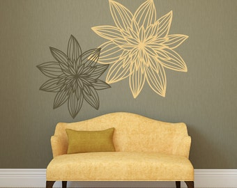 Flower Wall Decals Etsy - Yellow flower wall decals