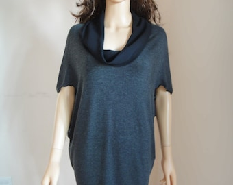 Gray Tunic Dress - Loose Jersey Tunic Women's Top Short Sleeved Tunic