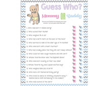 baby shower game guess who couples shower personalized quest