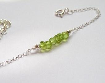 Sterling Silver peridot bracelet, Peridot bracelet, Silver bracelet, Gemstone bracelet, August birthstone bracelet, Gifts