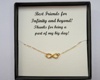 Bridesmaid gift, Gold Infinity necklace, Infinity necklace, Gifts, Delicate necklace, Infinity jewelry, Friendship gift