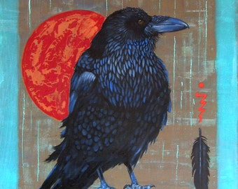 CROW MAGNUM -  raven, crow, native american, indian, corvid, love