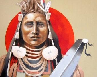 RED Sun RISES - Native American Lakota Portrait on Canvas