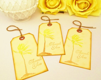 Tropical Wedding Favor Tags, Beach Wedding Bag Tag, Thank You Tags, Favor Tags, Palm Tree Name Tag, Destination Wedding Welcome Bag Tag