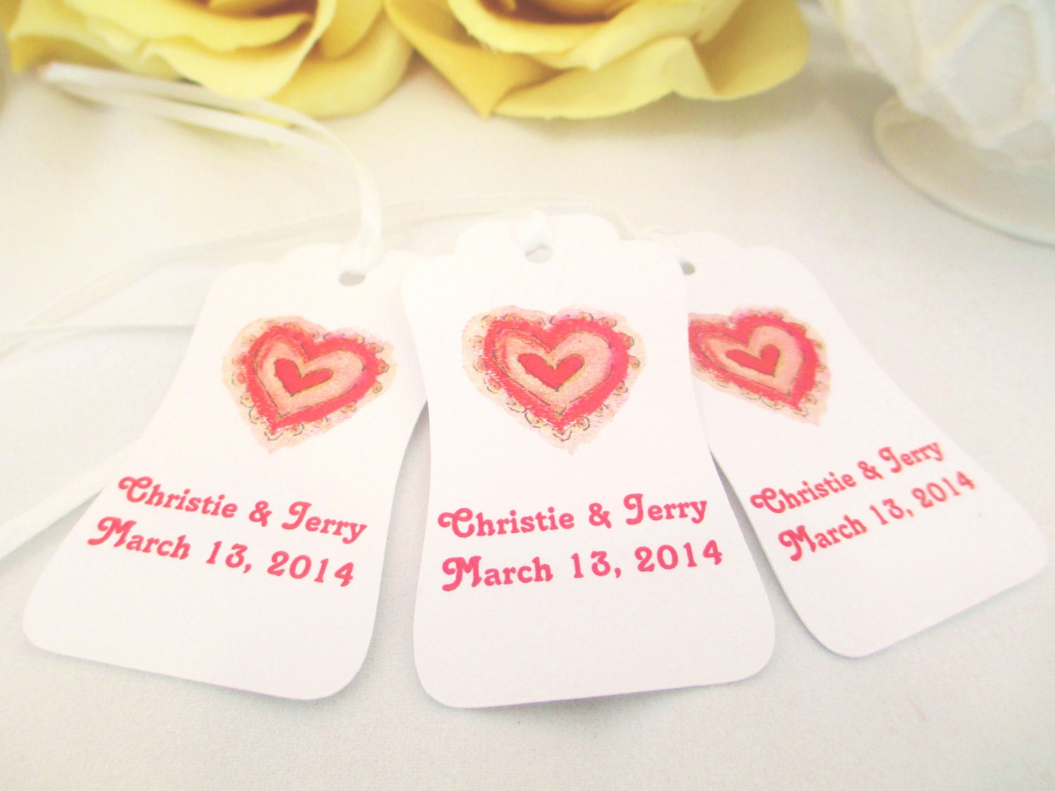 Wedding Heart Gift Tags : 24 Personalized Wedding Favor Tags Heart Bridal Shower Thank