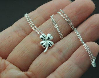 Dainty all Sterling Silver Four Leaf Clover Necklace in Sterling Silver - Sweet and Simple Shamrock for Good Luck