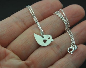 All sterling silver baby Sparrow Pendant Necklace, Sterling silver sparrow Necklace, bird necklace, baby bird