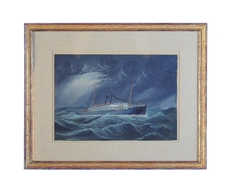 Boat in a stormy Sea -c.1920s Chinese Oil Painting