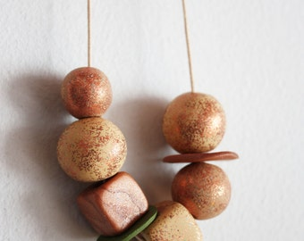 Handmade Clay Bead Necklace - Rust