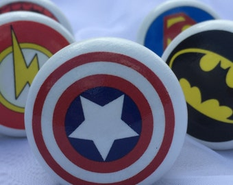 Set Of Six Superhero Knobs, Pulls, Dresser Knobs