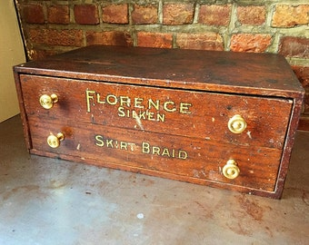 Antique Spool Chest / 2 Drawers / 'Florence Silken'
