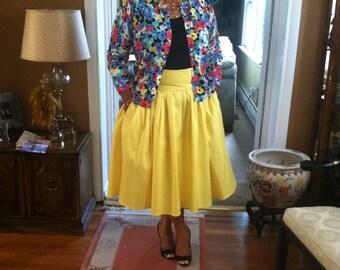 Pique Gathered Full Skirt