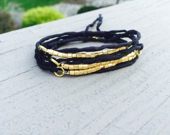 Black and Gold Beaded Boho Wrap Bracelet - Silk Cord - Delicate Gold - Stackable