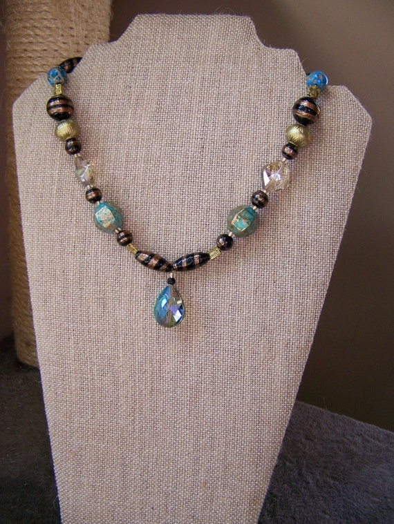 """Egyptian Look Crystal Pendant Necklace Set, Black Gold Turquoise Beaded Necklace, 18"""" Necklace,#5"""