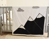 Mountain Blanket- woodland baby crib quilt