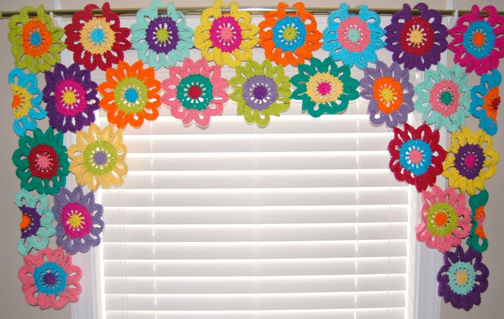Colorful Kitchen Curtains Flower Valance Flower Curtains Crochet Curtains Kitchen