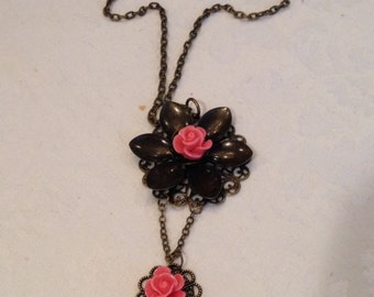 Handmade Antique Brass Flower Necklace with Pink Rose