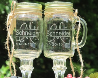 Now, I am Complete © / Redneck Wine Toasting Glasses / Mr. Mrs. Personalize  Last Name / Fun Font / Daisy Lids / Wedding / Mason Jar /