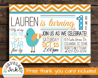Bird First Birthday Invitation - Bird Birthday Invite - 1st Birthday Party Invitation - Birthday Party Printable - Bird Theme Invitation