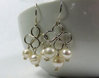 Pearl Earrings, Clover Chandelier Earrings