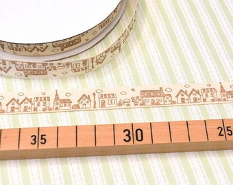 "Zakka woven Ribbon ""little houses"""